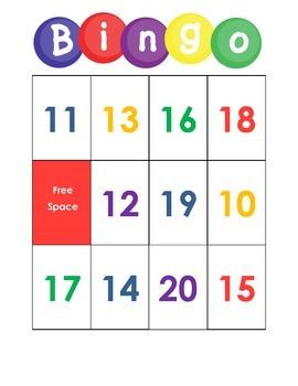 10-20 Number Bingo