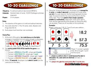10-20 Challenge - 5th Grade Game [CCSS 5.NBT.B.7]