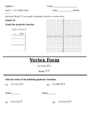 10.3 Day 1 Notes - Graphing Quadratics in Vertex Form