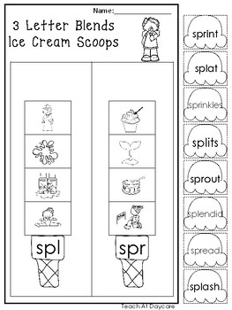 10 3 Letter Blends and Trigraph Ice Cream Scoops Worksheets. KDG-1st Grade ELA