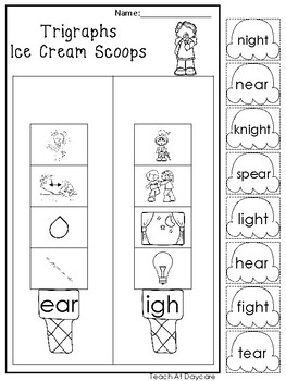 10 3 Letter Blends and Trigraph Ice Cream Scoops Worksheets. KDG-1st ...