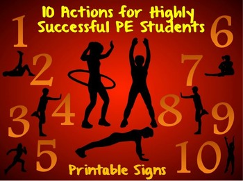 10 Actions for Highly Successful PE Students- Printable Di