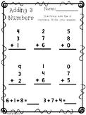 10 Adding 3 Numbers Worksheets. KDG-1st Grade Math.