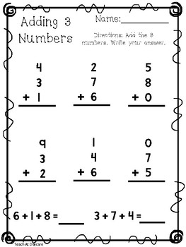 Adding 3 Numbers First Grade Teaching Resources Teachers Pay Teachers