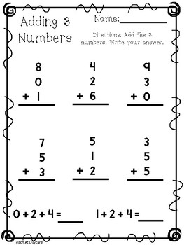 10 Adding 3 Numbers Worksheets. KDG-1st Grade Math.