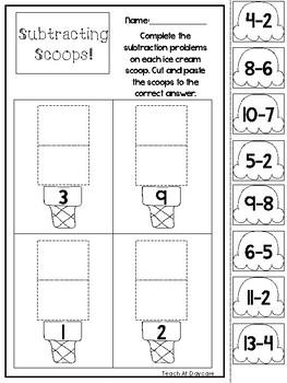 10 Subtracting Scoops Printable Worksheets in PDF file. Prek-1st Grade Math
