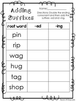 10 Adding Suffixes Printable Worksheets in PDF file. KDG-2nd Grade ELA.
