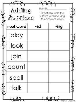 10 Adding Suffixes Printable Worksheets in PDF file. KDG-2nd Grade ELA.