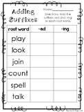 10 Adding Suffixes Printable Worksheets in PDF file. KDG-2