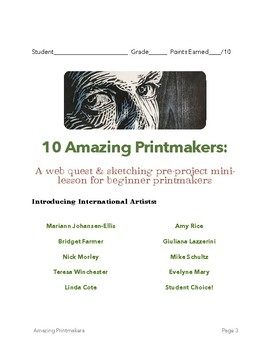 10 Amazing Printmakers:  A web quest and sketching workbook
