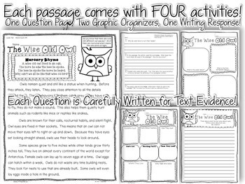 10 Animal Themed Passages for Close Reading or Text Evidence Homework
