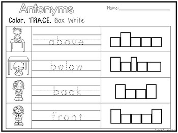 10 Antonyms Color and Writing Worksheets. Kindergarten-1st Grade ELA.