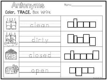 10 Antonyms Color and Writing Worksheets. Kindergarten-1st Grade ELA.
