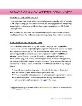 10 Argumentative AP English Language Quick Write Prompts - Community Themed