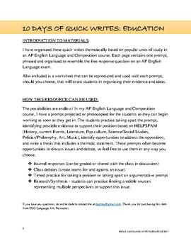 10 Argumentative AP English Language Quick Write Prompts - Education Themed