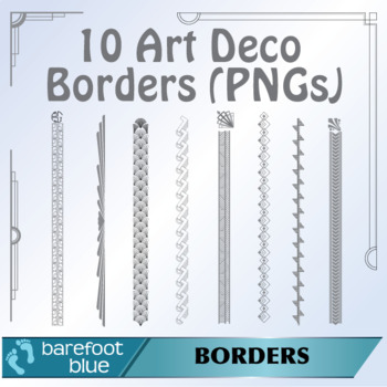 10 Art Deco Black and White/Grayscale Borders (PNGs)
