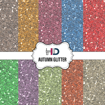 10 Autumn Glitter Digital Background Papers
