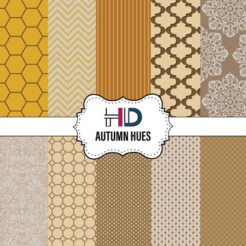 10 Autumn Hues Digital Background Papers in Chevron Stripes Polka Dots Honeycomb
