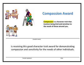 10 Award Certificates Based on Good Character Traits