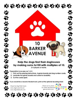 10 BARKER AVENUE - Number bonds to 100 by 10's