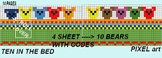 10 BEARS ON THE BED! PIXEL ART IMMAGE WITH CODES.