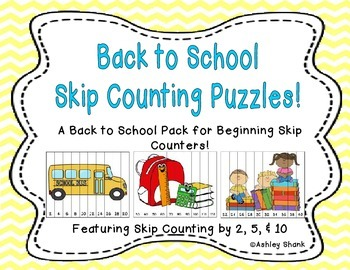 10 Back to School Skip Counting Puzzles