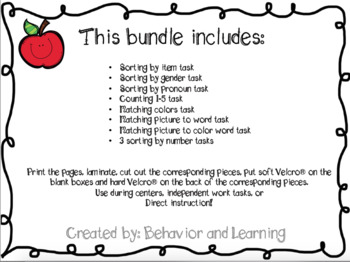 Back to School Work Tasks - for students with Autism and Special Needs