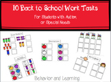 Back to School Work Tasks - for students with Autism and S