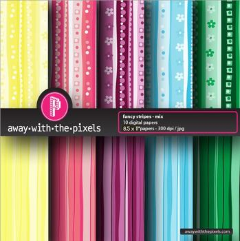 "10 Background Papers 8.5 x 11"" Patterns and Stripes - Commercial Use OK"