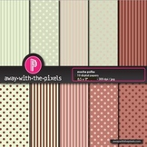 """10 Papers 8.5 x 11"""" Brown & Green Polka Dots/Stripes - fro"""