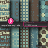 "10 Background Papers 8.5 x 11"" Blue/brown - Away With The Pixels"
