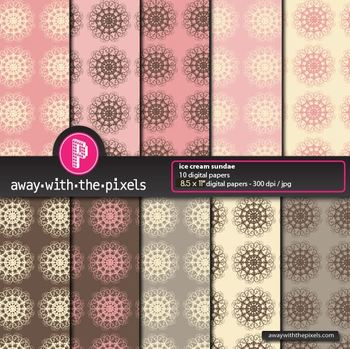 """10 Background Papers 8.5 x 11"""" Cream, Pink and Brown - fro"""