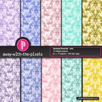 """10 Background Papers 8.5 x 11"""" Damask - from Away With The Pixels"""
