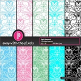 """10 Background Papers 8.5 x 11"""" Light Damask - Commercial Use OK"""