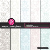 """10 Background Papers 8.5 x 11"""" Pale Damask Pattern - Comme"""