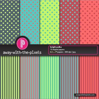 """10 Background Papers 8.5 x 11"""" Polka Dots and Stripes- Commercial Use OK"""