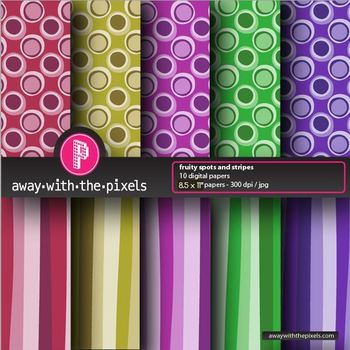 "10 Background Papers 8.5 x 11"" Spots and Stripes - Commercial Use OK"