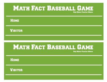 +10 Baseball Math Game