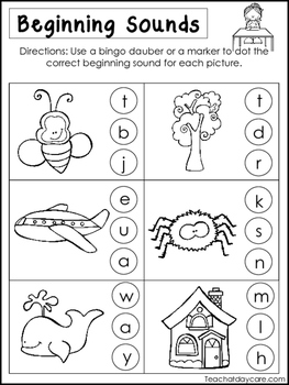 10 Beginning Sounds Worksheets. Preschool and Kindergarten Literacy Worksheets.