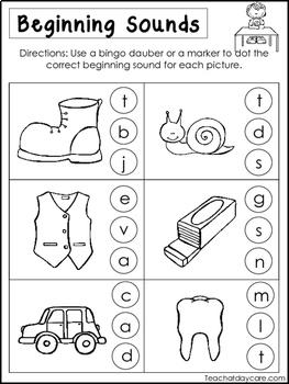 10 Beginning Sounds Worksheets. Preschool and Kindergarten ...