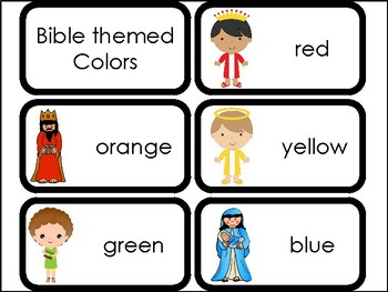 10 Bible themed Colors Flashcards. Preschool colors and Bible Study.