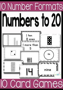 10 Black & White Card Games for Numbers to 20 with 10 Different Card Formats