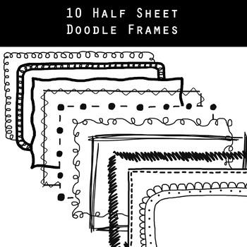 10 Black & White Doodle, Half Sheet Frames