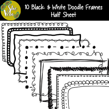 10 Black & White Doodle Half Sheet Frames