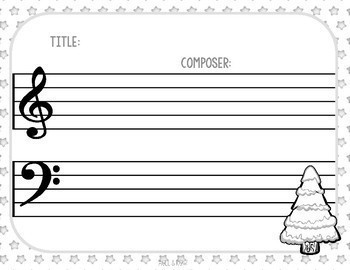 NEW! 10 Blank Sheet Music / Winter Activities - Christmas, Composer, Snow