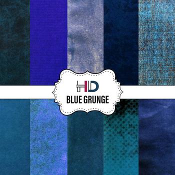 10 Blue Grunge Textured Digital Background Papers Overlays