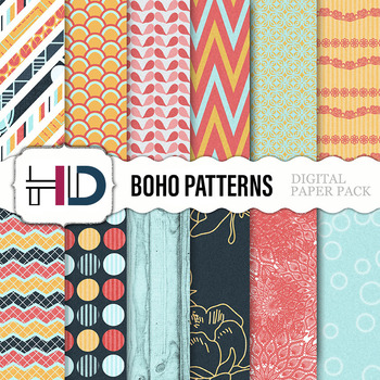 10 Bohemian Patterns Digital Background Papers Chevron Rustic Floral Flowers