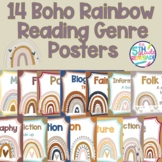12 Boho Rainbow Themed Neutral Color Reading Genre Posters