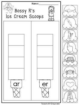 10 Bossy R Ice Cream Scoops Worksheets. Kindergarten-1st Grade ELA.