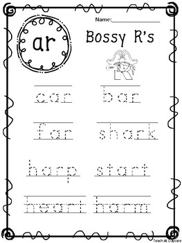 10 Bossy R Tracing Worksheets Kindergarten 1st Grade Ela By Teach